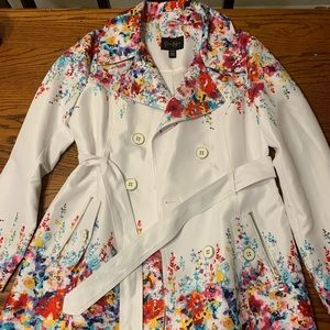 Jessica Simpson mid length watercolor trench